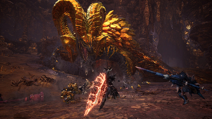 Kulve Taroth facing off against hunters